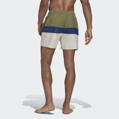 Men's Swim Green Short-Length Colorblock Swim Shorts