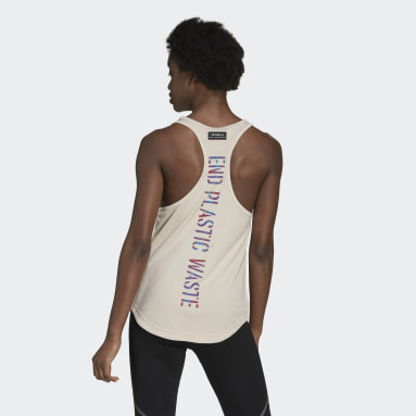 Frauen Running Run for the Oceans Graphic Tanktop Beige