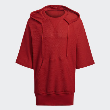 Heren Y-3 Rood Y-3 CH3 Chain Mesh Hooded T-shirt