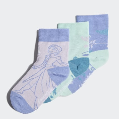 Girls Gym & Träning Lila Frozen Crew Socks 3 Pairs
