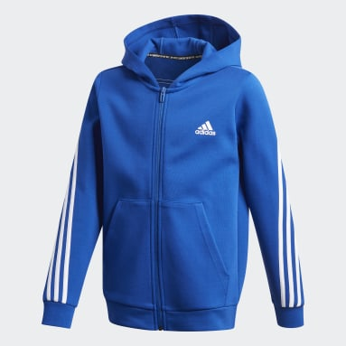 Youth 8-16 Years Gym & Training Blue 3-Stripes Doubleknit Full-Zip Hoodie