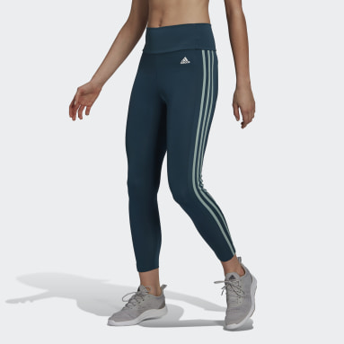 Dames Fitness En Training Turquoise Designed To Move High-Rise 3-Stripes 7/8 Sportlegging