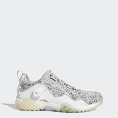 ผู้ชาย กอล์ฟ สีขาว รองเท้ากอล์ฟแบบไร้ปุ่ม Codechaos BOA 21 Primeblue