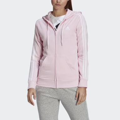 Women Sportswear Pink Essentials French Terry 3-Stripes Full-Zip Hoodie