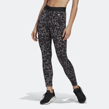 Women Sportswear Grey adidas Sportswear Leopard-Print Cotton Leggings