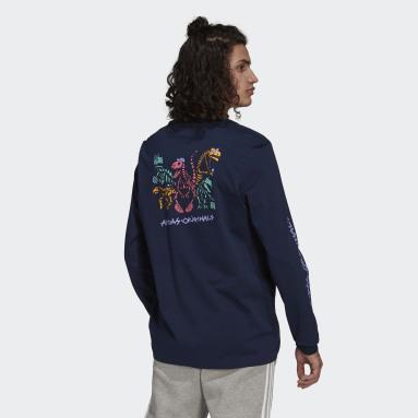 ผู้ชาย Originals สีน้ำเงิน เสื้อยืดแขนยาว Funny Dino