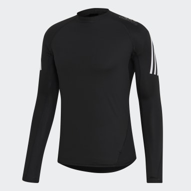 Men Yoga Black Alphaskin Sport+ 3-Stripes Tee
