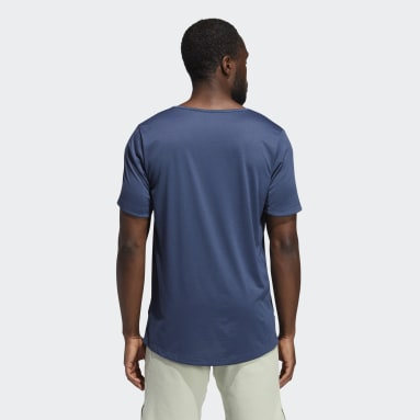 Men's Yoga Blue AEROREADY 3-Stripes Flow Primeblue Tee
