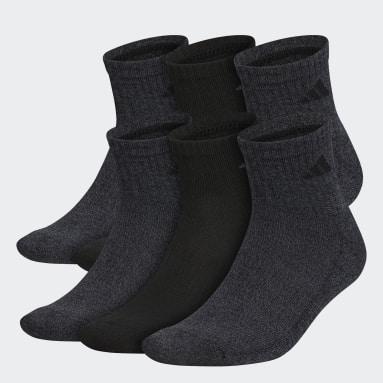 Men's Training Black Athletic Quarter Socks 6 Pairs
