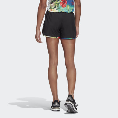 Women Running Black Marathon 20 Floral Shorts