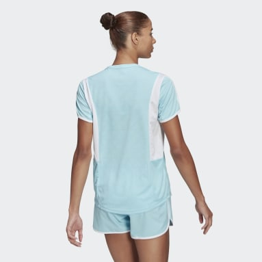 Women Running Blue Own The Run 3-Stripes Iteration Tee