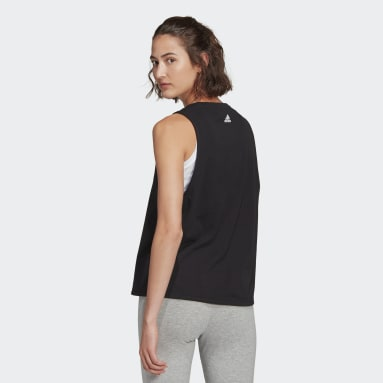 Women Sport Inspired Black adidas Essentials Stacked Logo Tank Top
