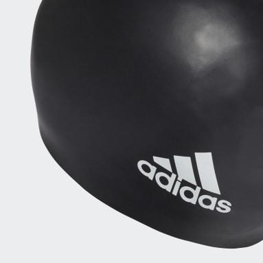 Swimming Black Silicone Logo Cap