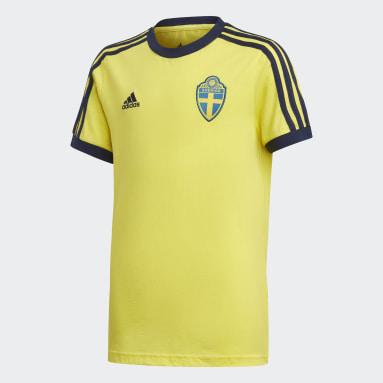 Kids Football Yellow Sweden 3-Stripes T-Shirt