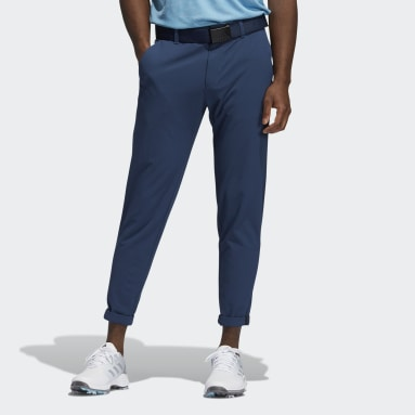 Men Golf Blue Pin Roll Trousers