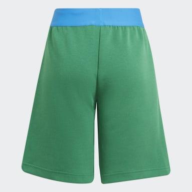 เด็ก เทรนนิง สีเขียว กางเกงขาสั้นมีกระเป๋าซิป adidas x Classic LEGO®