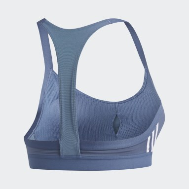 Frauen Yoga All Me 3-Streifen Sport-BH Blau