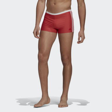Men Swimming Red 3-Stripes Swim Briefs