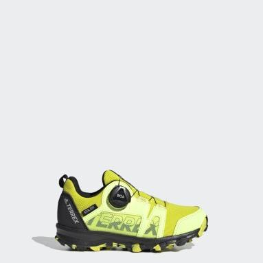 Kids TERREX Yellow Terrex Agravic Boa RAIN.RDY Hiking Shoes