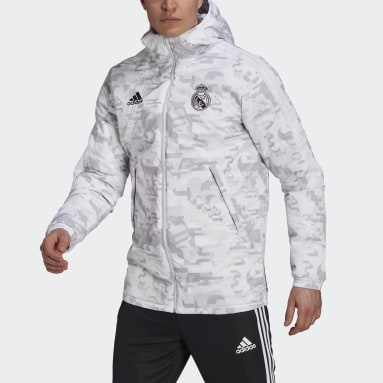 Men Football White Real Madrid CNY Padded Jacket