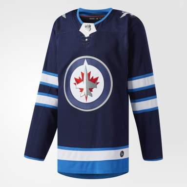 Maillot Jets Domicile Authentique Pro Bleu Hockey