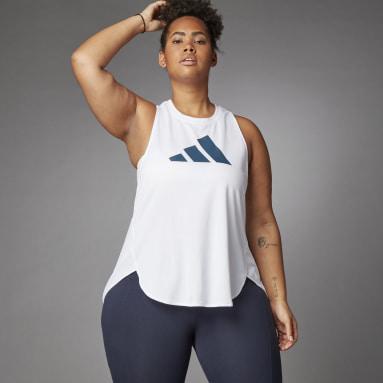 Frauen Running 3 Bar Logo Tanktop – Große Größen Weiß