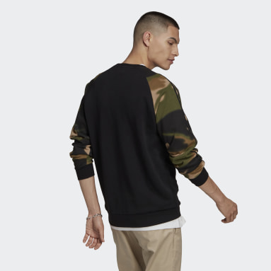 Camo Stripes Crewneck Sweatshirt Czerń