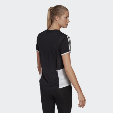 Women Running Black Own The Run 3-Stripes Iteration Tee