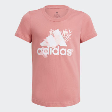Girls Gym & Training Pink Tropical Sports Graphic Tee