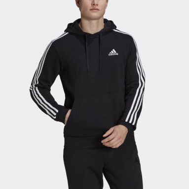Men Sport Inspired Black Essentials Fleece 3-Stripes Hoodie