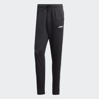 Pantalón Essentials Tapered Open Hem 3 Tiras Negro Hombre Training