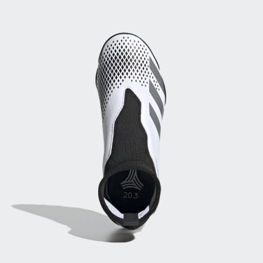 Kids Football White Predator Mutator 20.3 Laceless Turf Boots