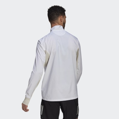 Men Running White Primeblue Half-Zip Running Jacket