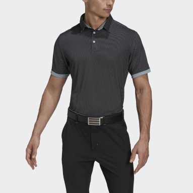 Men Golf Black Equipment Two-Tone Mesh Polo Shirt