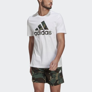 Men Sport Inspired White Essentials Camouflage Print Tee