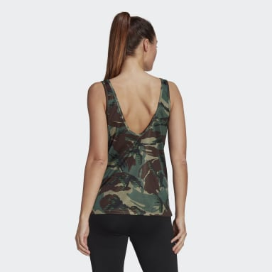 Women Gym & Training Green AEROREADY Designed 2 Move Camouflage-Print Tank Top