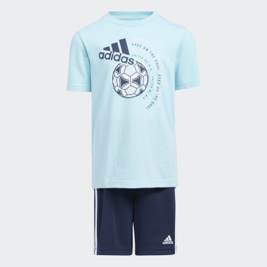 Children Training Blue GRAPHIC TE SHORT SET