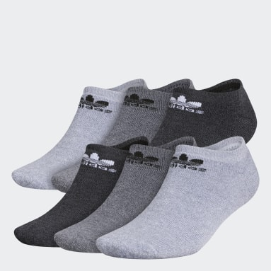 Men's Originals Grey Trefoil No-Show Socks 6 Pairs
