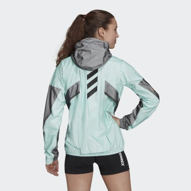 Women TERREX Green Terrex Agravic Pro Trail Running Rain Jacket