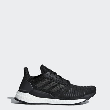 Women Running Black Solar Boost Shoes