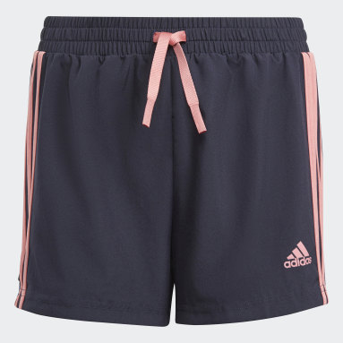 Shorts adidas Designed To Move 3 Tiras Azul Niña Training