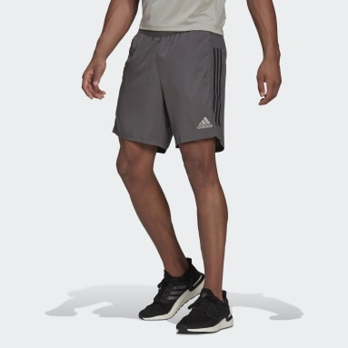 Men Running Grey Own The Run 3-Stripes Shorts