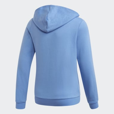Youth 8-16 Years Gym & Training Blue 3-Stripes Hoodie