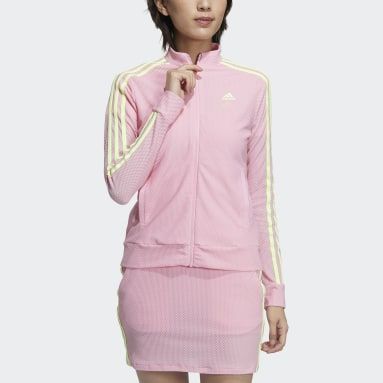 Women Golf Pink 3-Stripes Jacket
