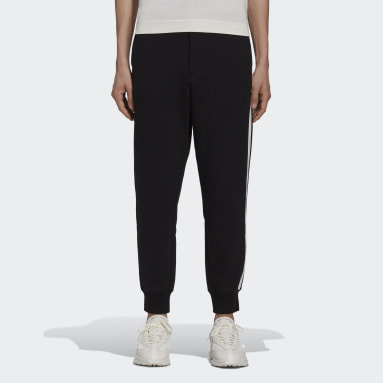 Men Y-3 Black Y-3 3-Stripes Terry Cuffed Pants