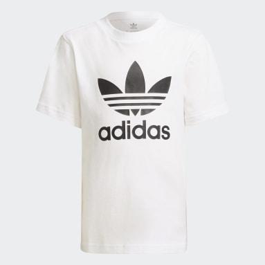 เด็ก Originals สีขาว ชุดเสื้อยืดและกางเกงขาสั้น Adicolor