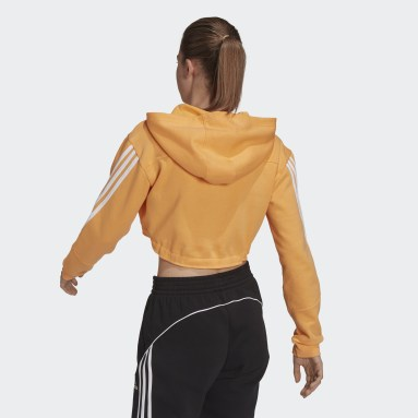 Sweat-shirt à capuche Crop Orange Femmes Sportswear