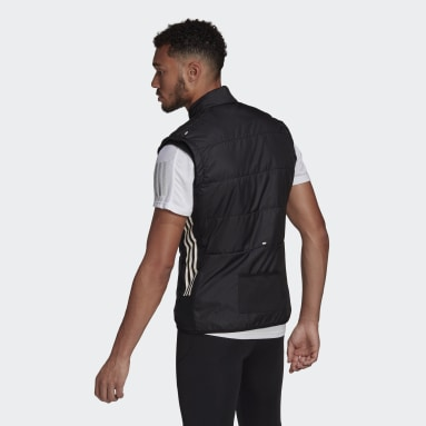 Men Running Black adidas Own The Run 3-Stripes Vest