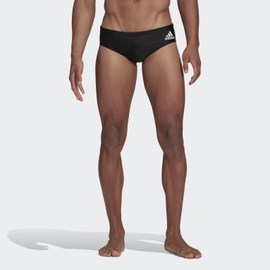 Men Swimming Black Colorblock Tapered Swim Trunks