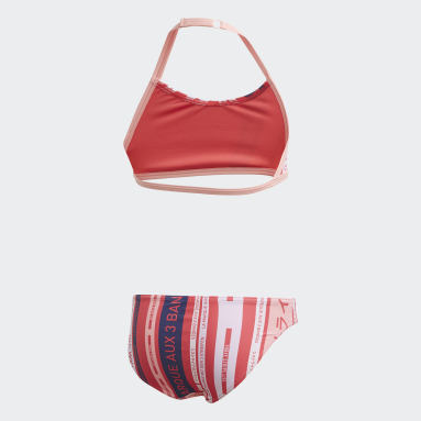 Girls Swimming Pink Graphic Bikini